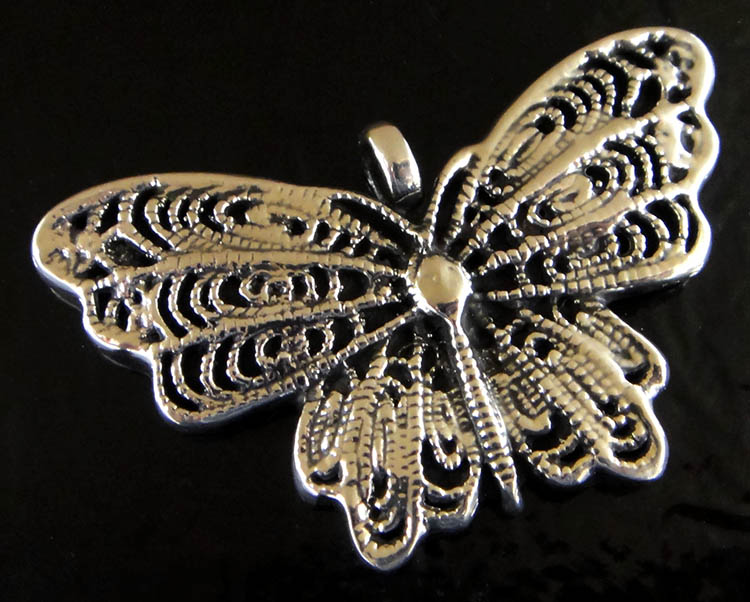 Handmade .925 sterling silver detailed butterfly pendant