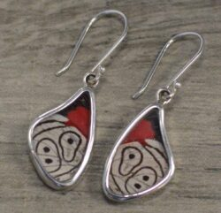 handmade red, white, and black butterfly wing earrings