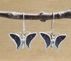 black and pink butterfly wing earrings