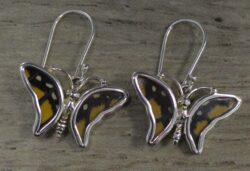 handmade butterfly wing earrings shaped like butterflies