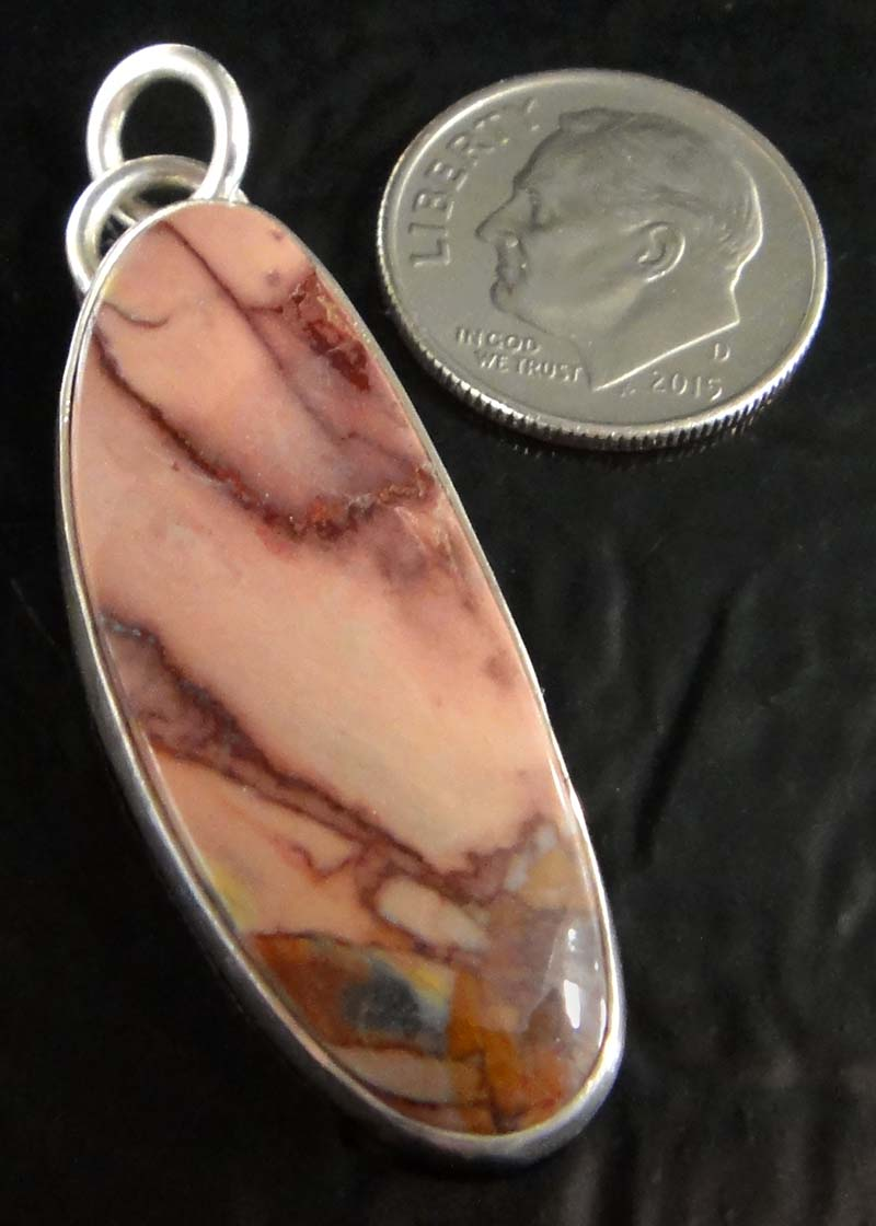 butterfly wing jasper and sterling silver pendant by Dale Repp with dime for size