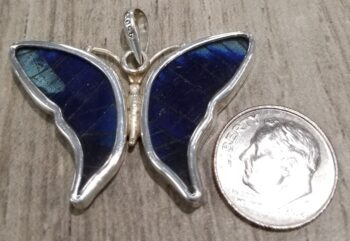 back of real butterfly wing pendant