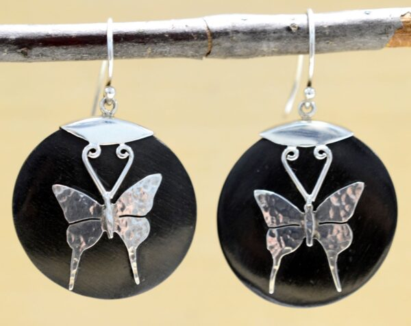 Handmade wood and .925 sterling silver butterfly earrings