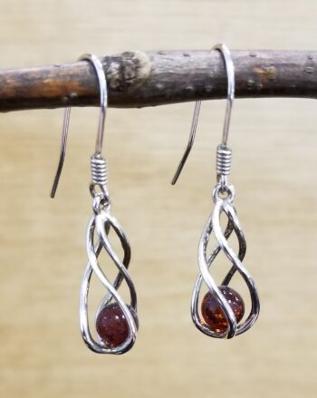 amber and sterling silver cage set earrings