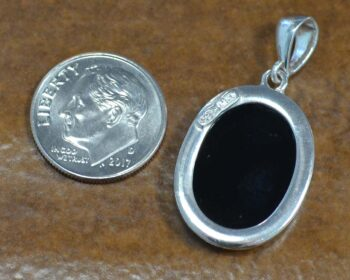 Carved agate horse cameo pendant back view