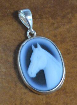 Handmade carved agate horse head cameo pendant