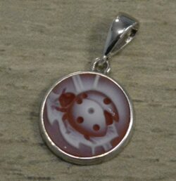 Handmade carved red agate ladybug sterling silver pendant