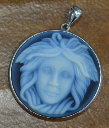 Handmade carved agate medusa cameo