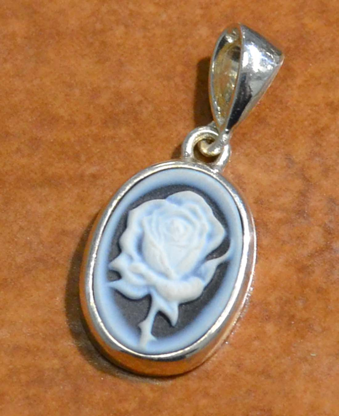 Carved agate rose cameo sterling silver pendant