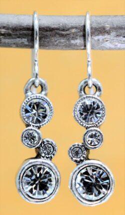 Patricia Locke Cassie silvertone style drop earrings in All Crystal
