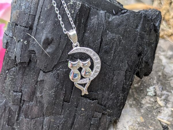 cat couple on moon necklace