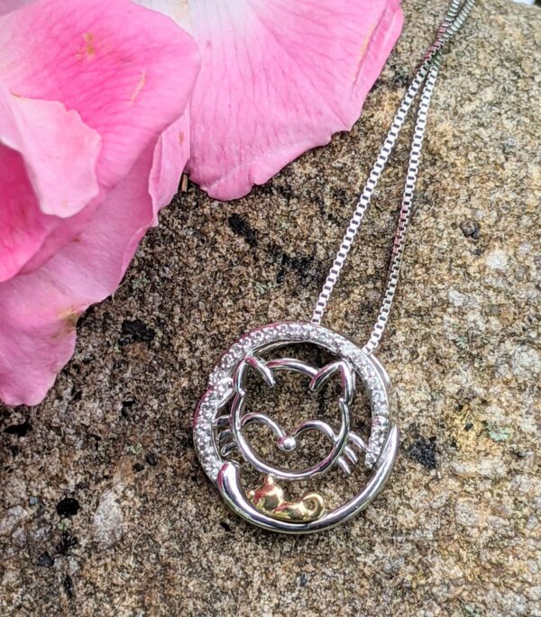 diamond cat and kitten silver necklace