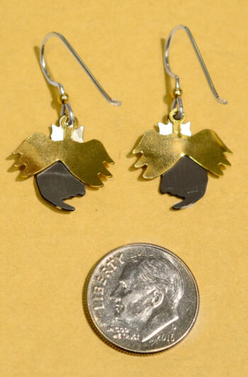 back of Sienna Sky angel cat earrings with dime