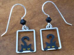 These black cat earrings are made by Sienna Sky