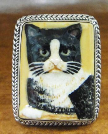 handmade porcelain cat and sterling silver ring
