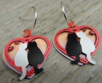 Heart with two cats earrings