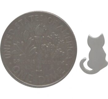 cat stud earrings with dime for scale