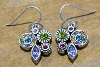"Orchid style silver tone earrings in color palette ""Celebration"" by Patricia Locke"