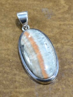Celestobarite and sterling silver pendant
