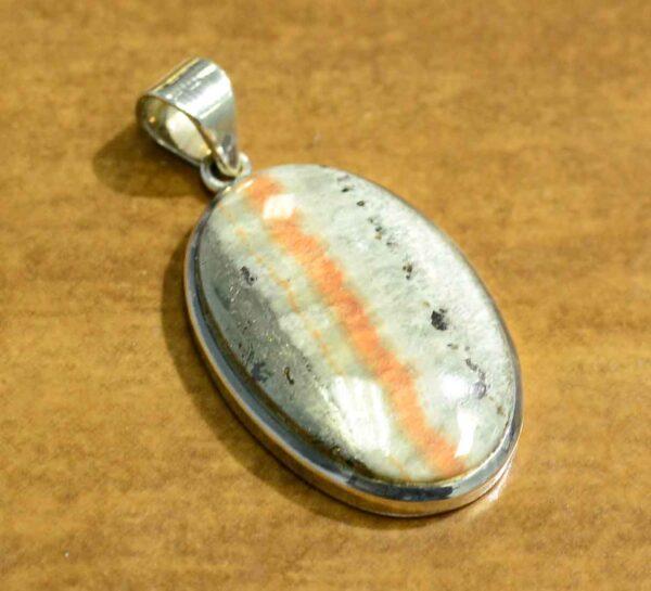 Celestobarite and sterling silver pendant