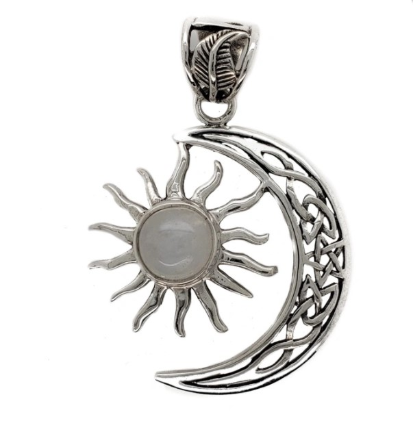 Celtic Knot sterling silver moon and sun with rainbow moonstone accent