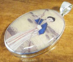 ceramic woman sterling silver pendant