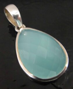 Handmade faceted chalcedony and sterling silver pendant