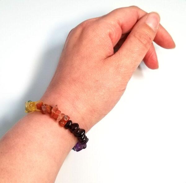gemstone charka bracelet on hand