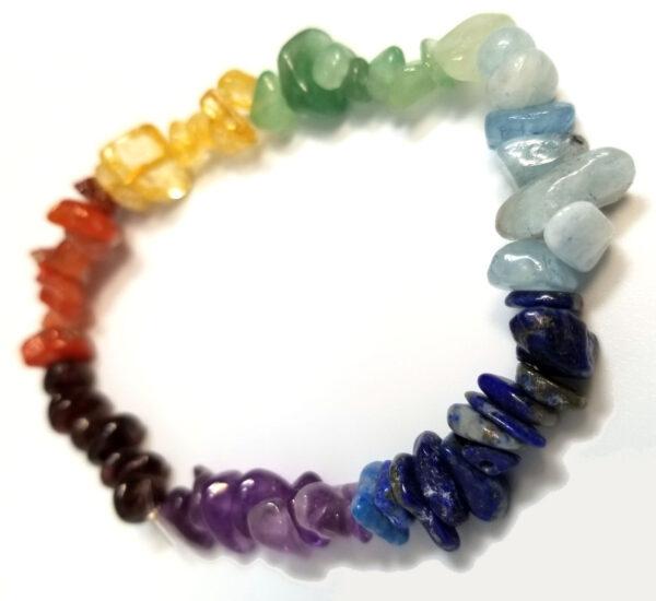 charka gemstone chip stretch bracelet