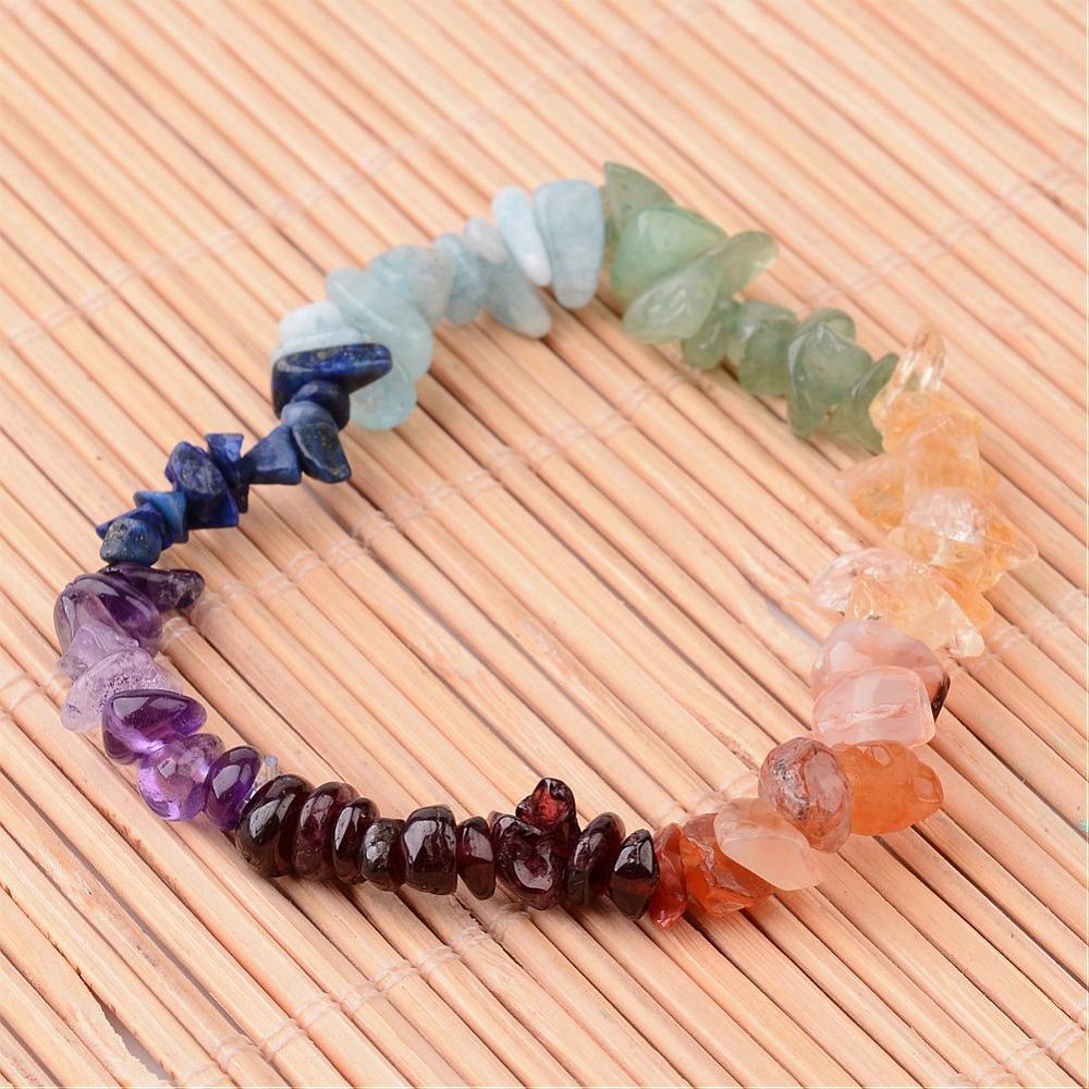 charka gemstone chip bracelet