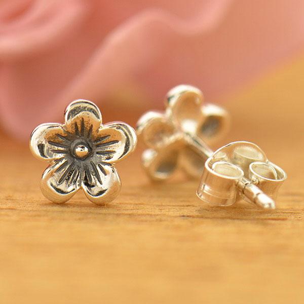 petite cherry blossom flower sterling silver post earrings