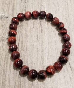 red cherry tiger's eye stretch bracelet