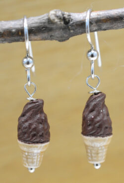Handmade chocolate ice cream cone ceramic earrings