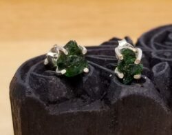 rough green chrome diopside sterling silver post earrings