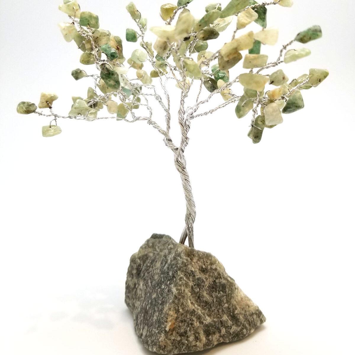 green gemstone tree sculpture