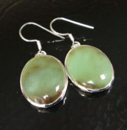 Handmade green chrysoprase and sterling silver earrings