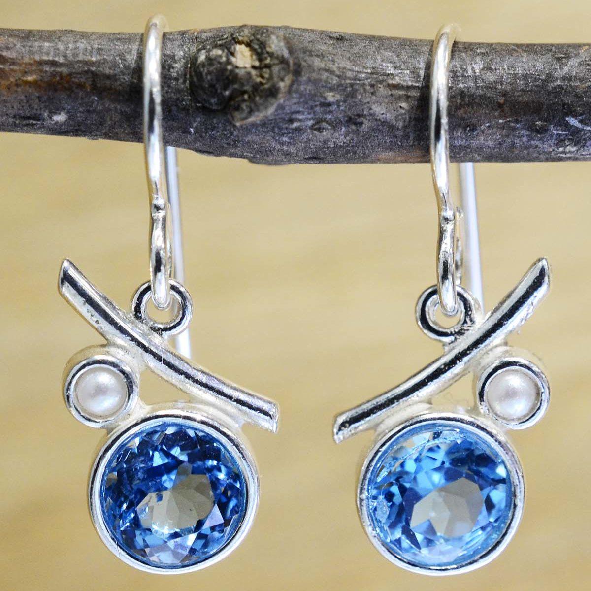 blue topaz, freshwater pearl, sterling silver earrings