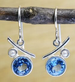 blue topaz, freshwater pearl, sterling silver earrings