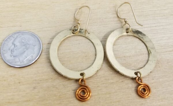 earrings with dime for scale