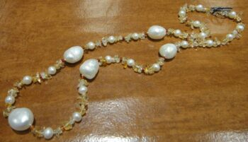 Handmade citrine red agate and pearl necklace
