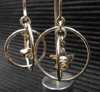 Citrine sterling silver star earrings