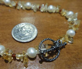 Handmade citrine red agate and pearl necklace clasp