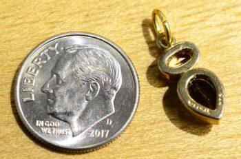 back of smoky quartz, citrine, and 14k gold vermeil handmade pendant with dime