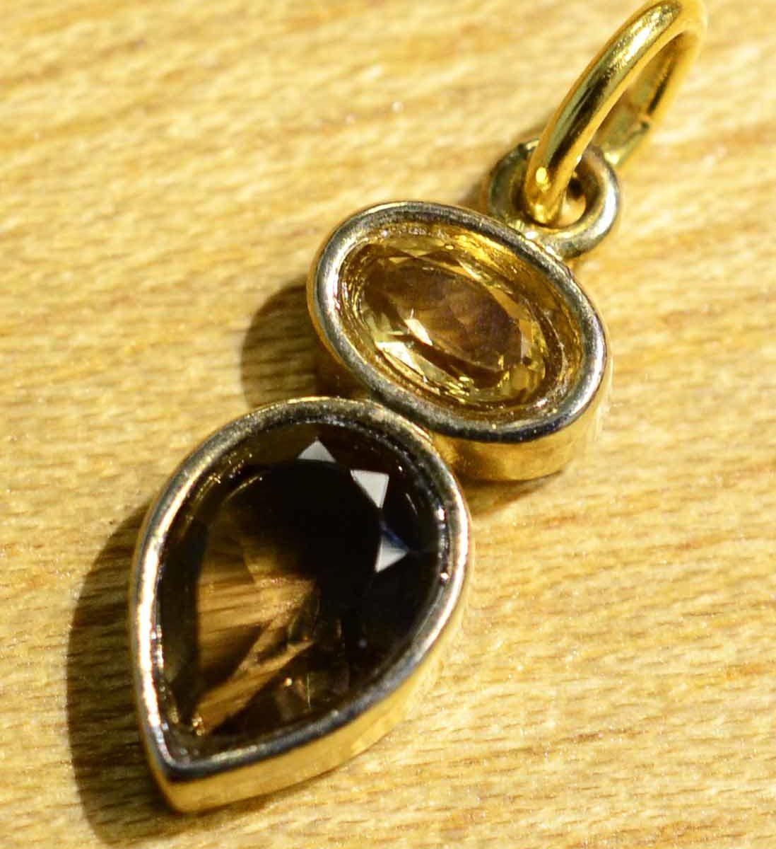 smoky quartz, citrine, and 14k gold vermeil handmade pendant