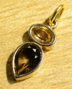 smoky quartz, citrine, and 14k gold vermeil handmade pendant