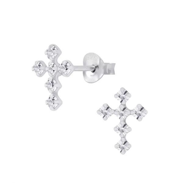 clear crystal sterling silver cross stud earrings