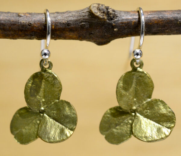 Michael Michaud Silver Seasons green clover dangle earrings