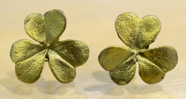 Michael Michaud handmade green Clover bronze stud earrings
