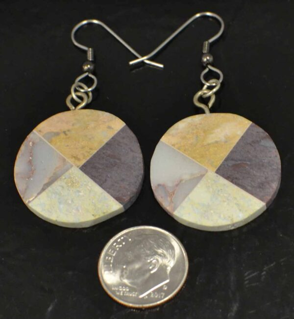 circular combarbalita mosaic earrings with dime for size