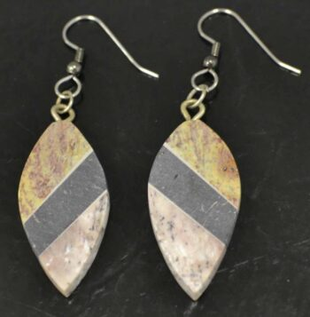 Handmade combarbalita stone mosaic dangle earrings